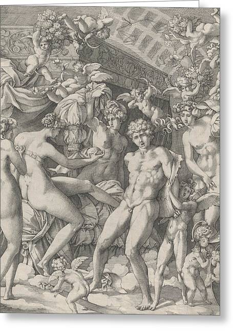 Venus And Mars With Cupid And The Three Graces Greeting Card