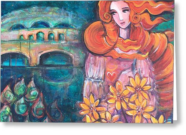 Greeting Card featuring the painting Venus And Sunflowers by Laurie Maves ART