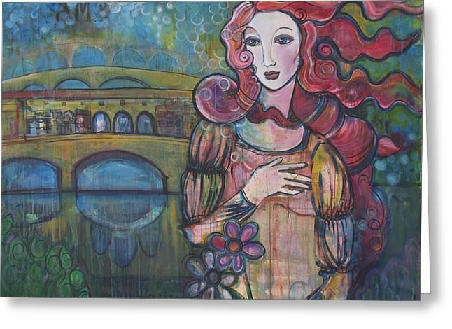 Venus And The Ponte Vecchio  Greeting Card