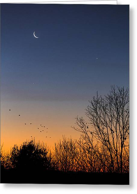 Venus, Mercury And The Moon Greeting Card