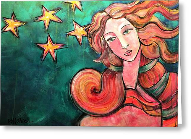 Greeting Card featuring the painting Venus Of The Stars by Laurie Maves ART