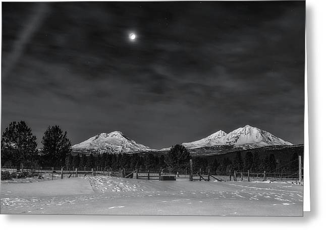 Greeting Card featuring the photograph Venus Over Three Sisters by Cat Connor