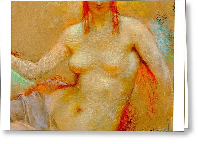 Greeting Card featuring the pastel Venus Pastel Lucien Levy Dhurmer 1915 by Peter Gumaer Ogden