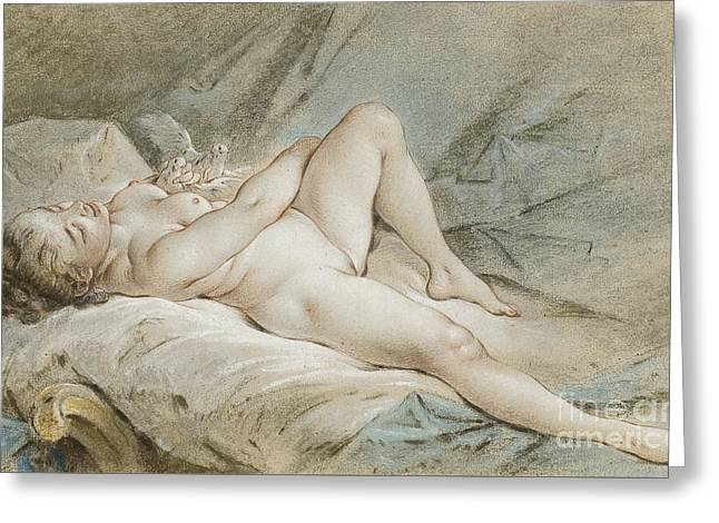 Venus Playing With Two Doves Greeting Card by Francois Boucher