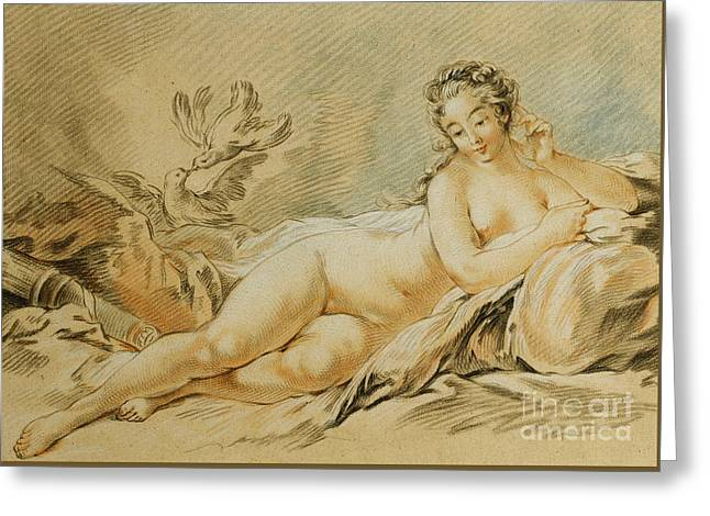 Venus Resting Greeting Card by Louis Marin Bonnet