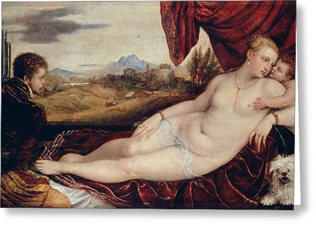 Venus With The Organ Player  Greeting Card by Titian