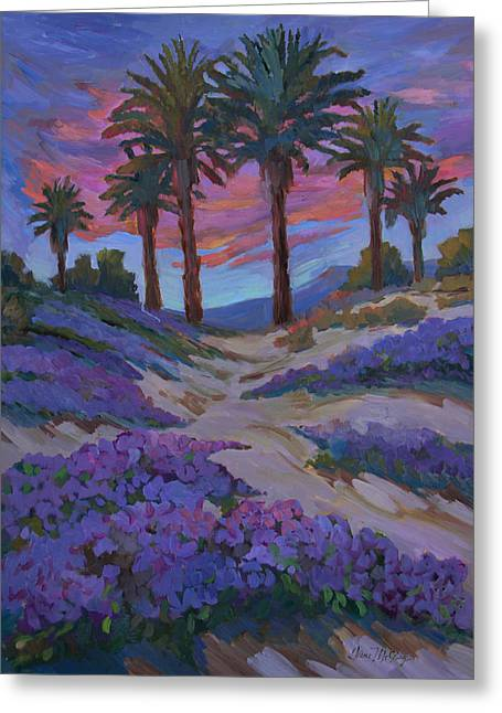 Verbena And Desert Sunrise Greeting Card by Diane McClary