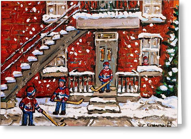 Verdun Duplex In The Snow Little Bys Hockey Game Best Montreal Paintings Canadian Art C Spandau Greeting Card by Carole Spandau