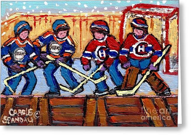 Verdun Hockey Rink Paintings Edmonton Oilers Vs Hometown Habs Quebec Hockey Art Carole Spandau       Greeting Card by Carole Spandau