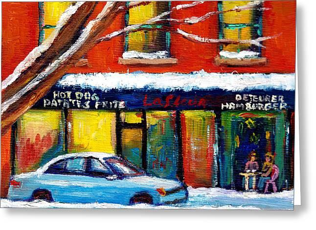 Verdun Montreal Favorite Poutine Restaurant Wellington Street Poutine Lafleur Wnter City Street Art  Greeting Card