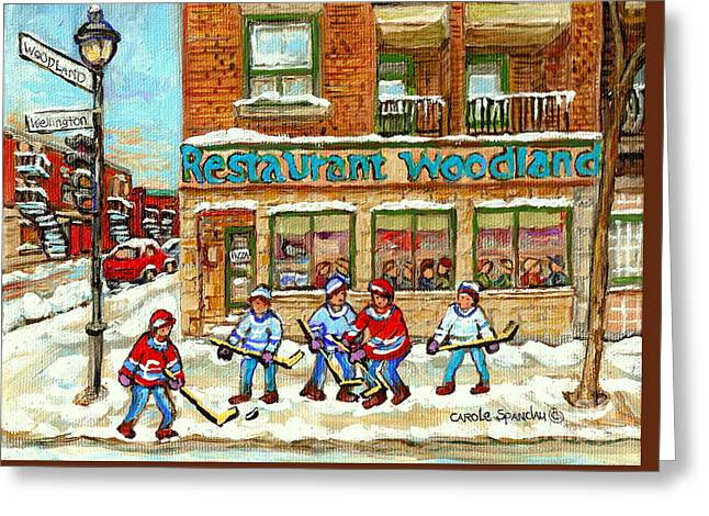 Verdun Pizza Restaurant Woodland Pizza Montreal Winter Scene Hockey Art Painting Carole Spandau      Greeting Card