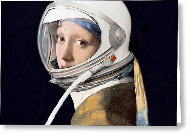 Vermeer - Girl In A Space Helmet Greeting Card