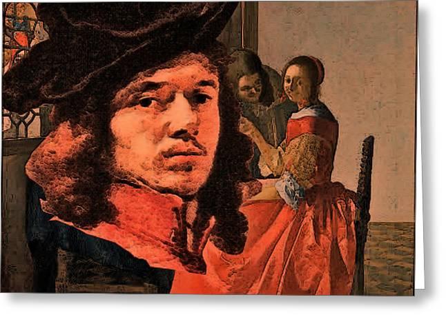 Vermeer Study In Orange Greeting Card