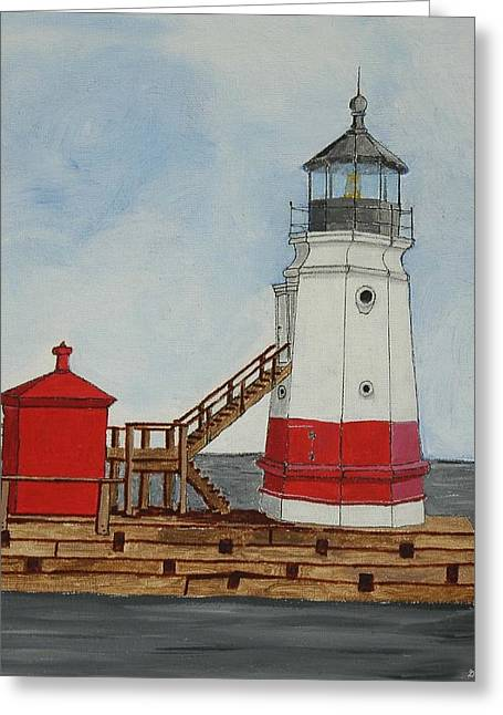 Vermilion Ohio Lighthouse Greeting Card by Gordon Wendling