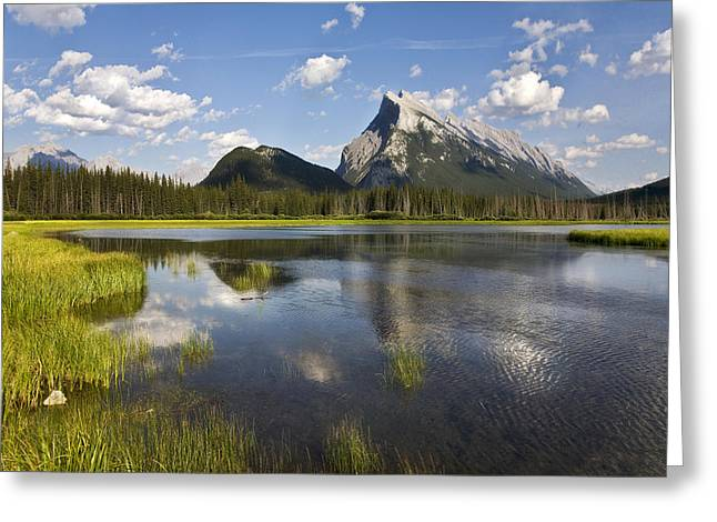 Vermillion Lake And Sulpher Mountain Greeting Card