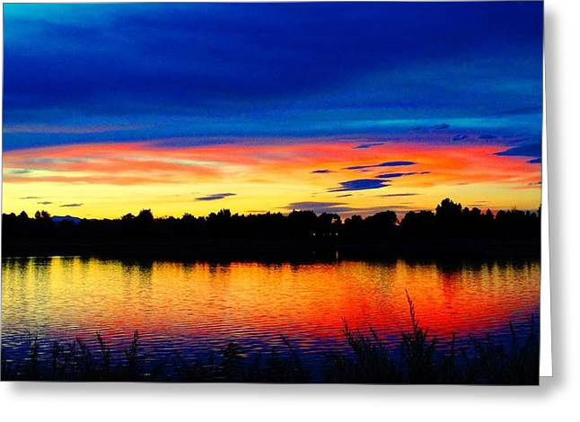 Greeting Card featuring the photograph Vermillion Sunset by Eric Dee