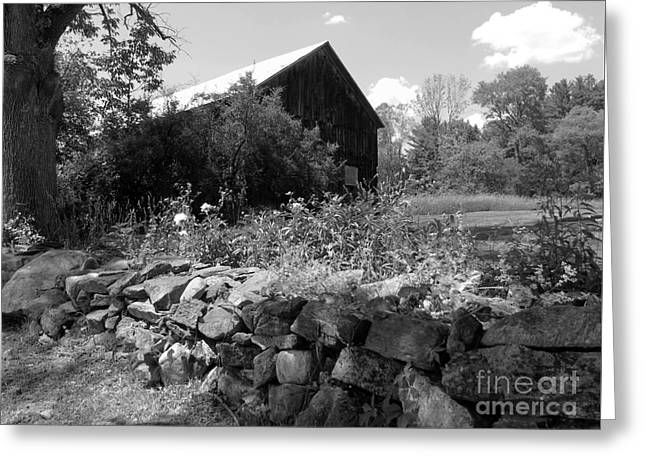 Vermont Barn And Stone Wall Greeting Card