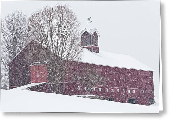 Vermont Barn In Snowstorm Greeting Card by Alan L Graham