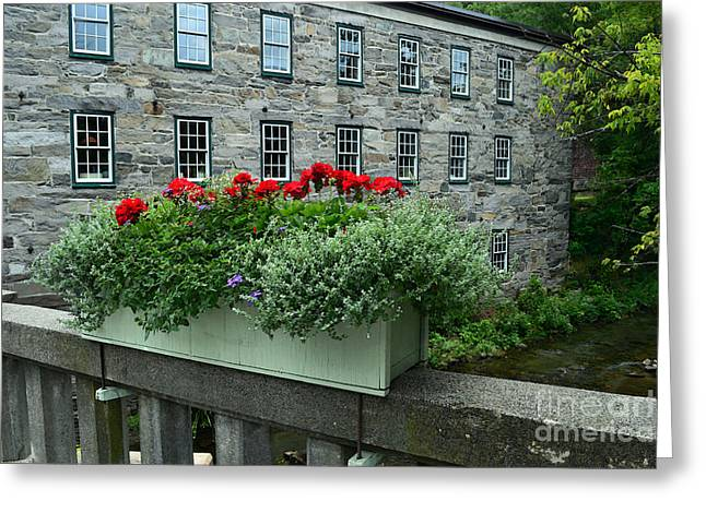 Vermont Bridge Flower Box Greeting Card by Catherine Sherman