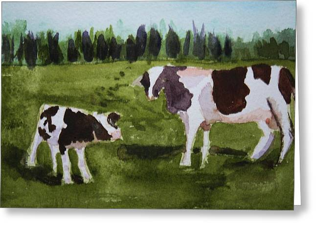 Greeting Card featuring the painting Vermont Cow And Calf by Donna Walsh