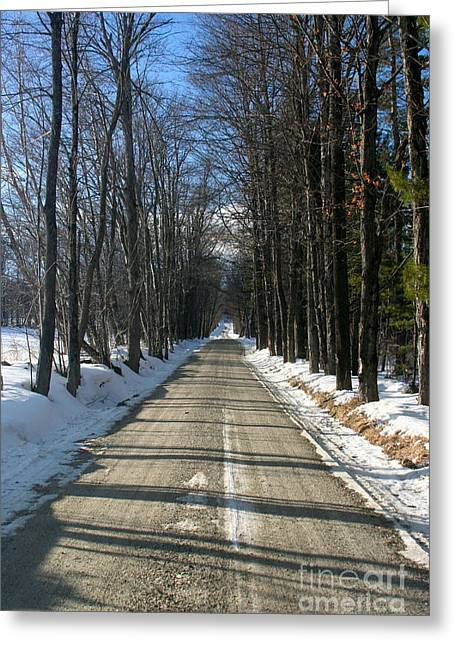 Vermont Dirt Road Greeting Card by Paula Deutz