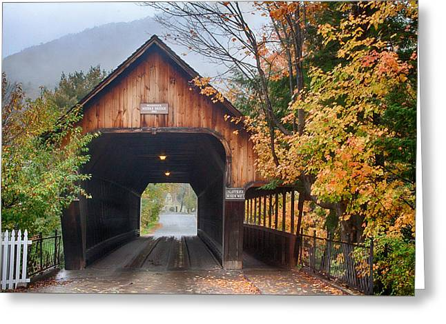 Vermont Fall Colors Over The Middle Bridge Greeting Card