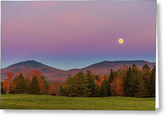 Vermont Fall, Full Moon And Belt Of Venus Greeting Card