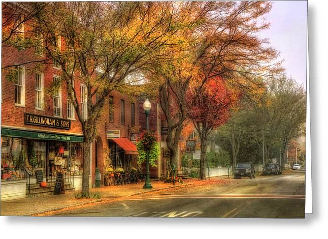 Vermont General Store In Autumn - Woodstock Vt Greeting Card by Joann Vitali