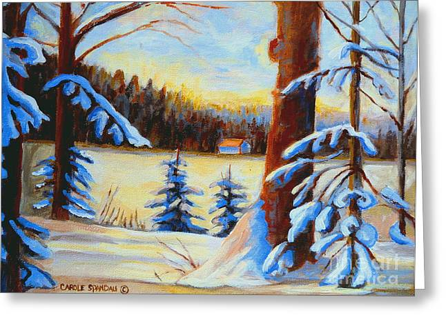 Vermont Log Cabin Maple Syrup Time Greeting Card by Carole Spandau