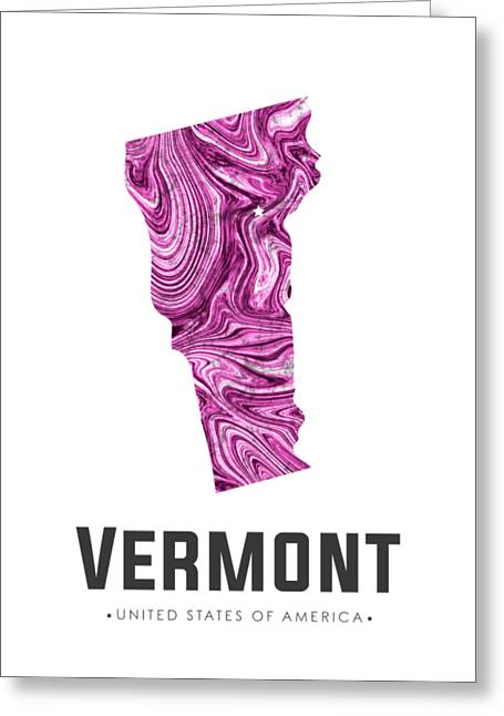 Vermont Map Art Abstract In Purple Greeting Card