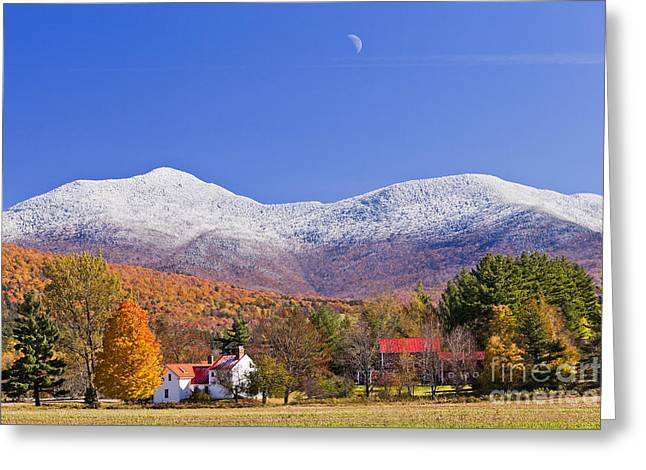 Vermont October Moonrise Greeting Card