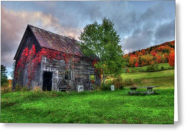 Vermont Red Barn In Autumn Greeting Card by Joann Vitali
