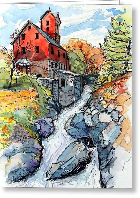 Greeting Card featuring the painting Vermont Red by Terry Banderas