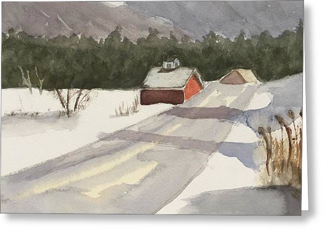 Vermont Snow Greeting Card by Peggy Poppe