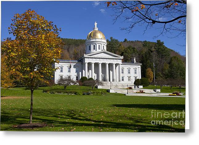 Vermont State House In Autumn Greeting Card