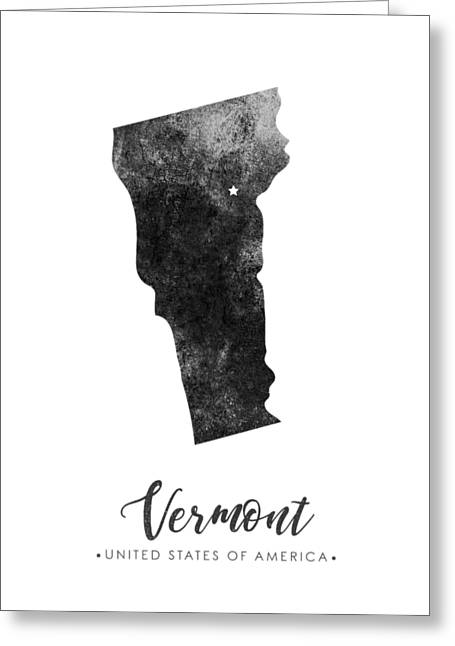 Vermont State Map Art - Grunge Silhouette Greeting Card