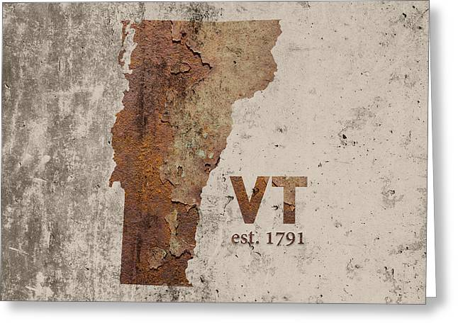 Vermont State Map Industrial Rusted Metal On Cement Wall With Founding Date Series 008 Greeting Card