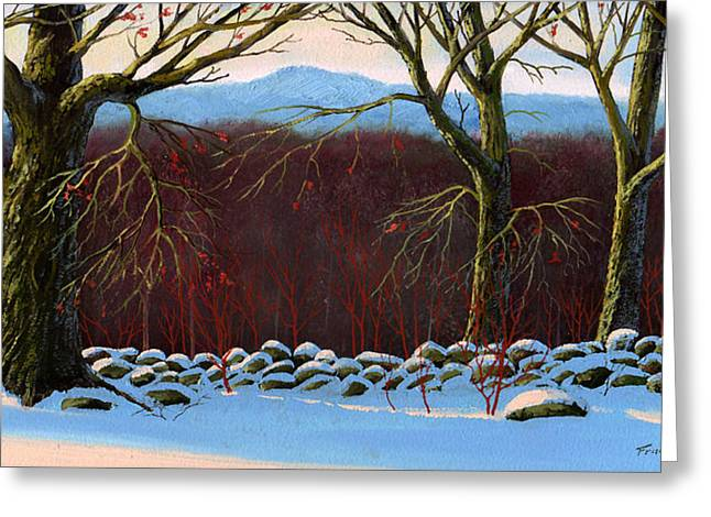Vermont Stone Wall Greeting Card by Frank Wilson