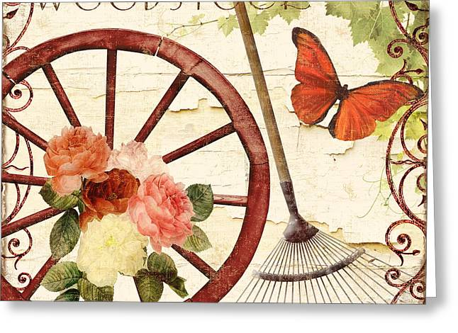 Vermont Summer Wagon Wheel Greeting Card by Mindy Sommers