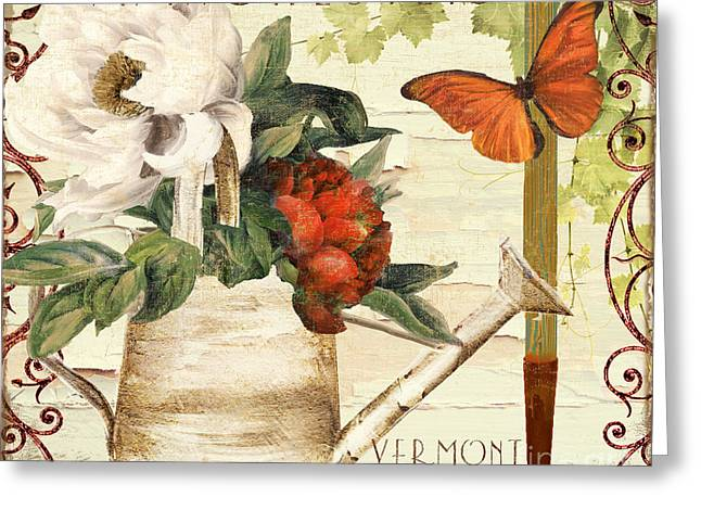 Vermont Summer Watering Can Greeting Card by Mindy Sommers