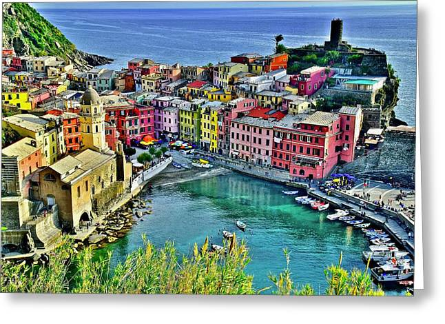 Vernazza Alight Greeting Card by Frozen in Time Fine Art Photography