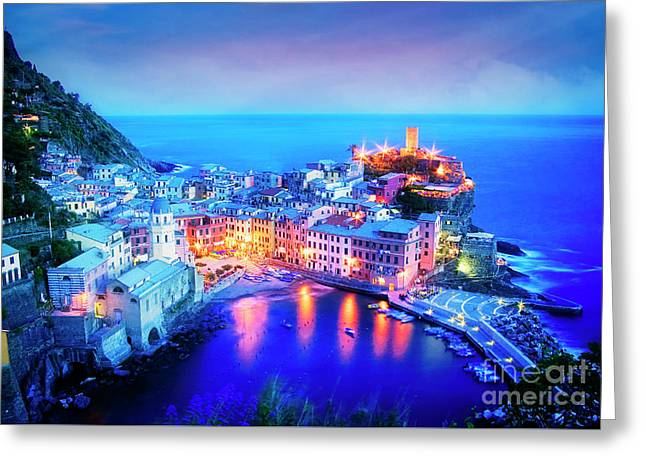 Greeting Card featuring the photograph Vernazza At Dusk by Scott Kemper