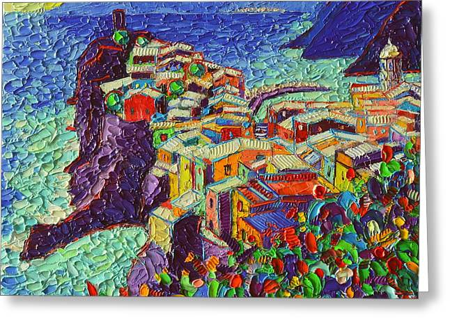 Vernazza Cinque Terre Italy 2 Modern Impressionist Palette Knife Oil Painting By Ana Maria Edulescu  Greeting Card