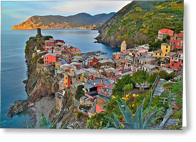 Vernazza From Behind Greeting Card