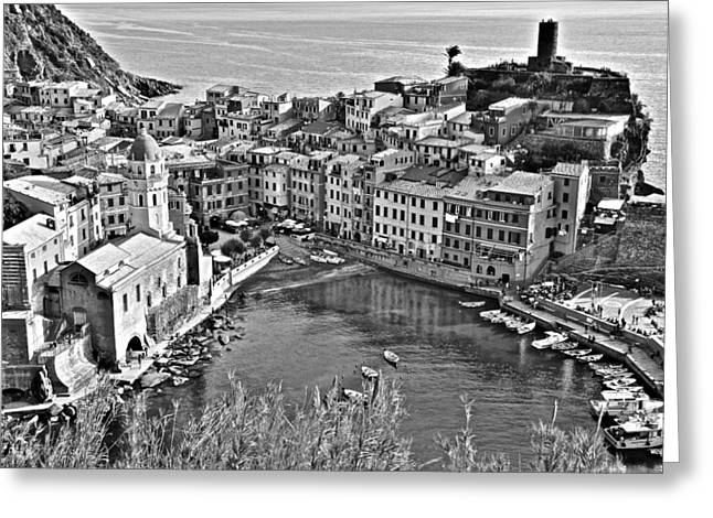 Vernazza Grayscale Greeting Card by Frozen in Time Fine Art Photography