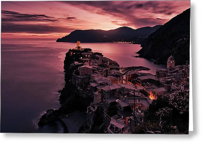 Vernazza Italy At Dusk Greeting Card