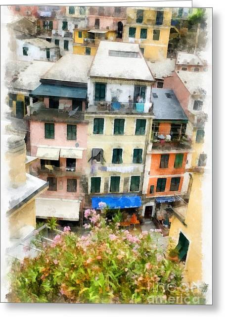 Vernazza Italy In The Cinque Terra Greeting Card by Edward Fielding