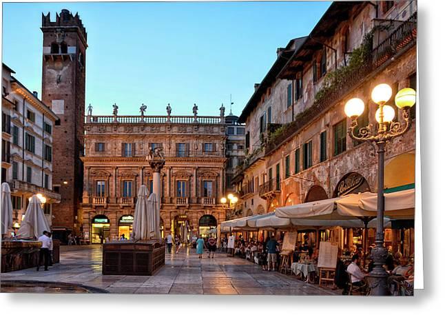 Verona - Piazza Delle Erbe Greeting Card by Joachim G Pinkawa