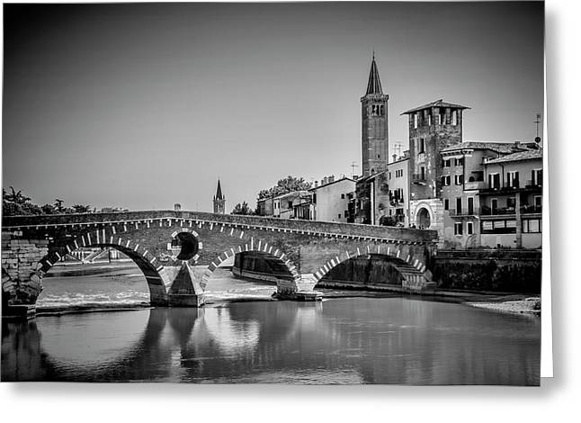 Verona Ponte Pietra, Torre Di Alberto And Sant'anastasia - Monochrome Greeting Card