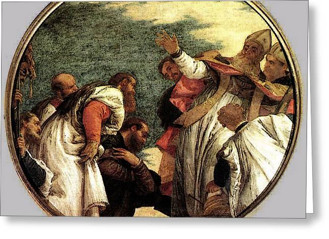 Veronese The People Of Myra Welcoming St Nicholas Greeting Card